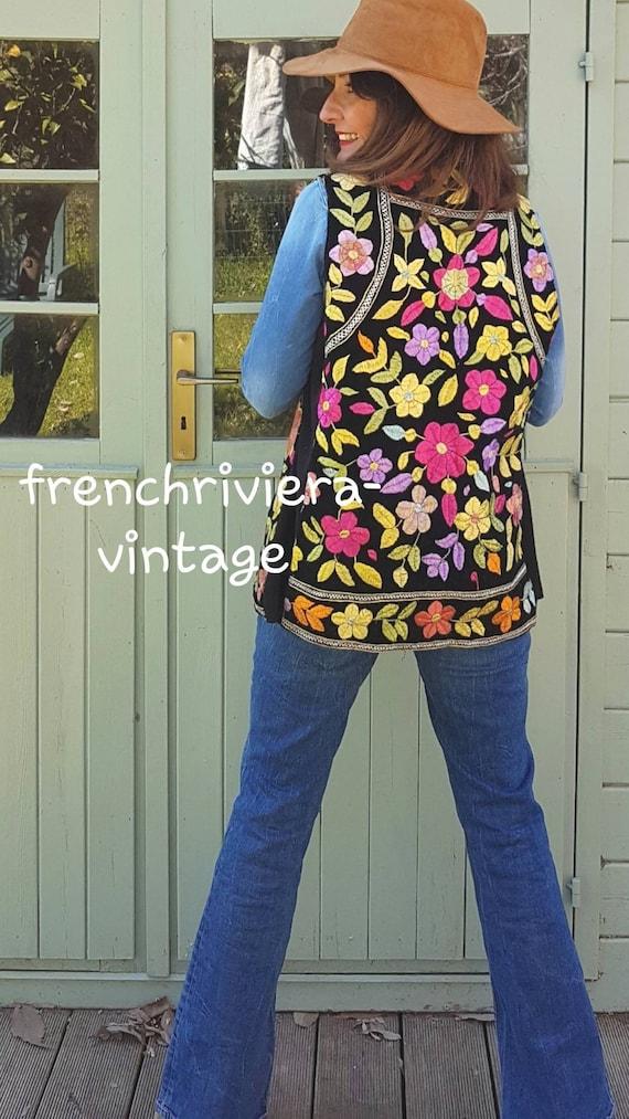 Handmade Afghan jacket vintage vest Afghan embroid