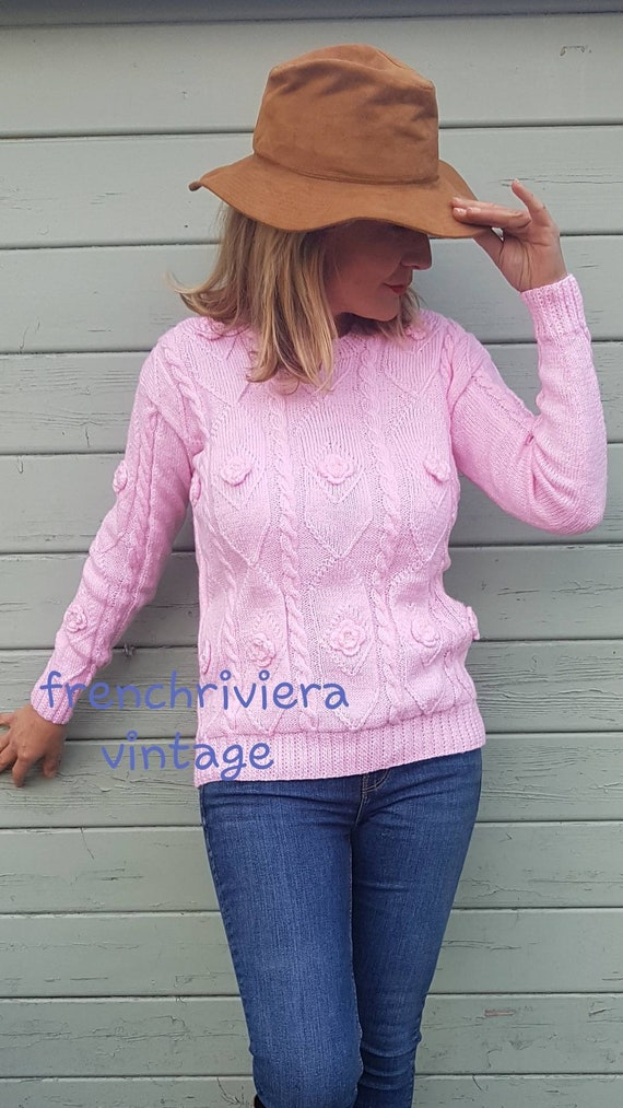 Pink boho vintage sweater of acrylic wool sweater