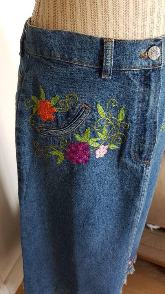 Long skirt boho long skirt jeans skirt jeans skir… - image 5