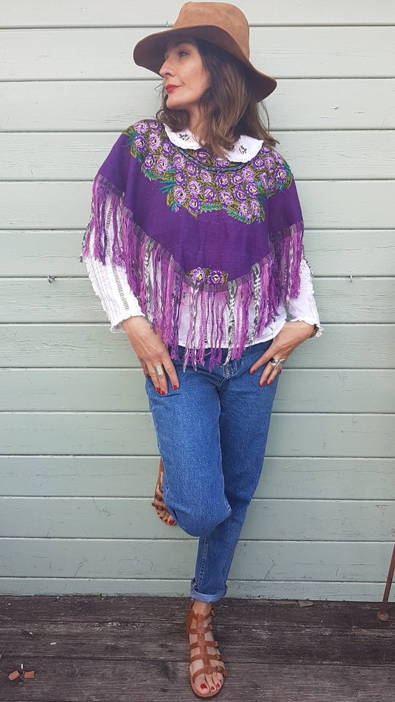 Short embroidered poncho hand jacket Cape boho emb