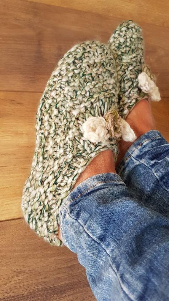 Slippers wool slippers vintage wool slippers hand… - image 6