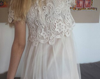 Gorgeous romantic vintage lace and tulle dress