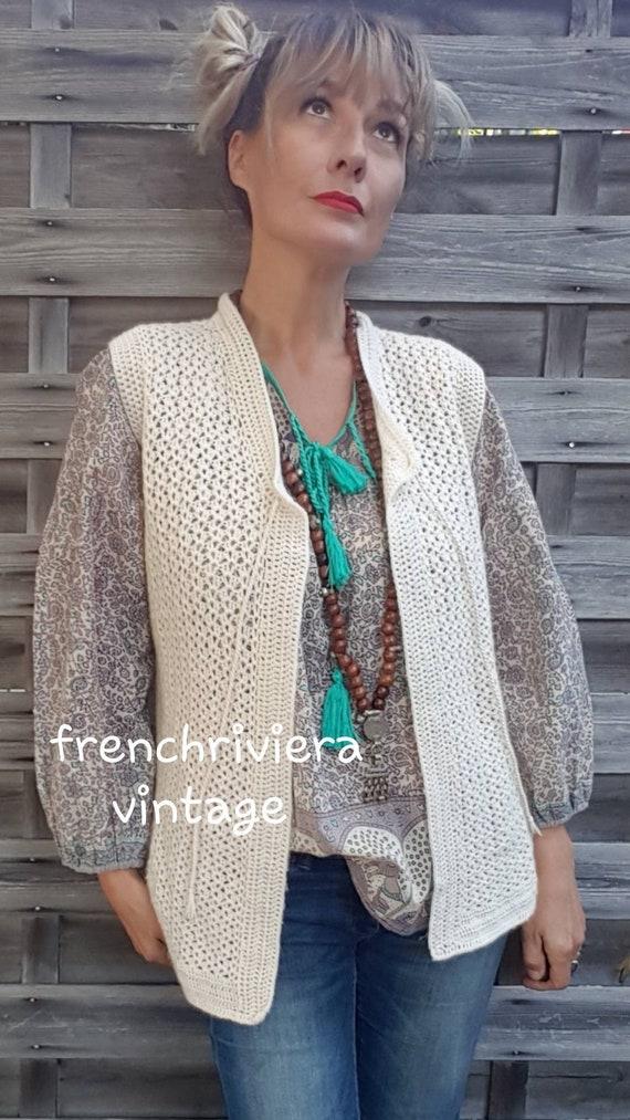 Hand-knitted vest sleeveless waistcoat boho handma