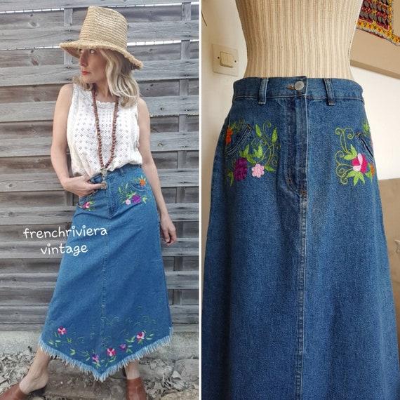 Long skirt boho long skirt jeans skirt jeans skir… - image 1