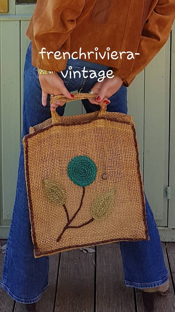 Boho leather bag and sisal bag style hippie Tote Boho Bag natural boho handbag chic bag color terracota bag ideal