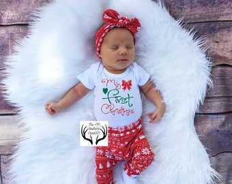Baby girl christmas outfit | Etsy