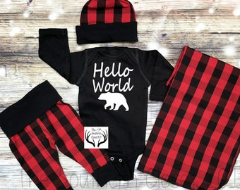 74095c8ee Boys Buffalo Plaid Coming Home Outfit,Boys, Newborn Boy Coming Home Outfit, Buffalo  Plaid Blanket, Red, Black,Baby Boy,Plaid Swaddle Blanket