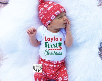 03f5a39a5 Baby Girl Christmas Outfit,Personalized,My First Christmas, Girls Christmas  Outfit, Baby Christmas Outfit, Girl Coming home outfit,Candycane