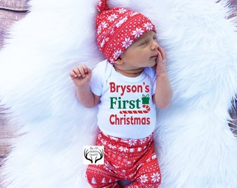 f469b6c0f Baby Boy Christmas Outfit,Personalized,First Christmas,Baby Christmas,Boys  Coming home outfit,Boys Christmas,Green,Red and White Deer