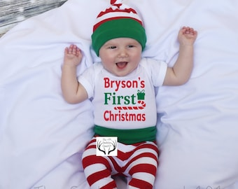 ef087a576 Baby Boy Christmas Outfit,Personalized,First Christmas,Baby Christmas,Boys  Coming home outfit,Boys Christmas,Green,Red and White Stripes