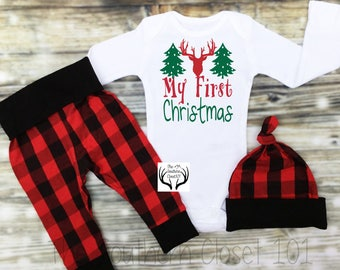 896474540 Baby Boys Christmas Outfit,My First Christmas,Newborn Boy Coming Home  Outfit, Buffalo Plaid, Red, Black,Baby Boy,Boy Coming Home Outfit,Boys