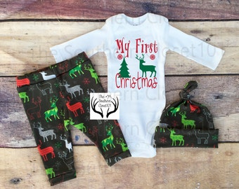 2a64e593081e2 Boys Christmas Outfit,My First Christmas,Boys Deer Outfit,Newborn, Boy  Coming Home Outfit,Reindeer,Red,Green,Gray,White,Boys Country Outfits