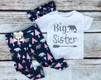 Big Sister Outfit, Sister Outfits,Pink and Navy Blue, Country Outfits, Bear Outfit,Baby Girl,leggings,Shirt,Headband, Big Sister, Arrows