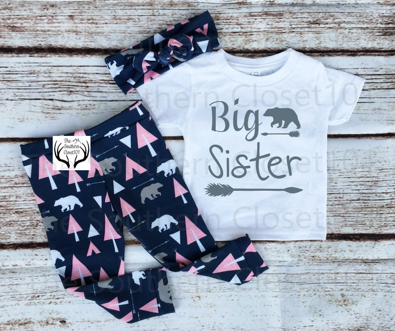 Sister Outfits,Pink and Navy Blue Country Outfits Arrows Bear Outfit,Baby Girl,leggings,Shirt,Headband Big Sister Outfit Big Sister