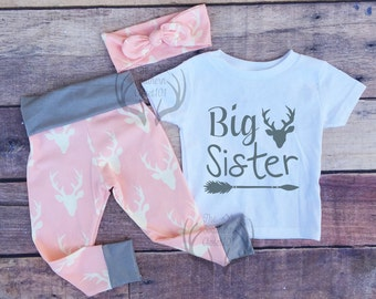 Big Sister Outfit, Sister Outfits,Pink and Gray, Country Outfits, Deer Outfit,Baby Girl,leggings,Shirt,Headband, Big Sister, Arrows