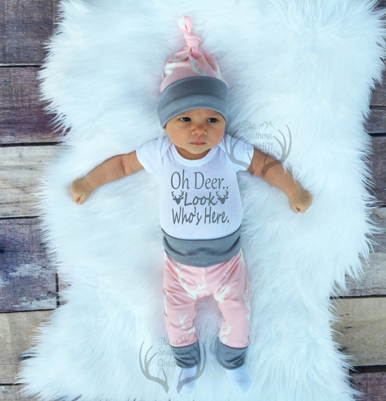Baby Girl Deer Baby Girl Coming home Outfit Baby Girl Clothes