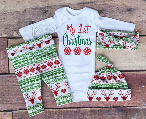 image 0 - Baby Girl Christmas OutfitMy 1st Christmas My First Girl Etsy