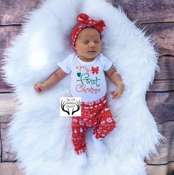 image 0 - Baby Girl Christmas OutfitBaby Christmas Outfit Girl Coming Etsy