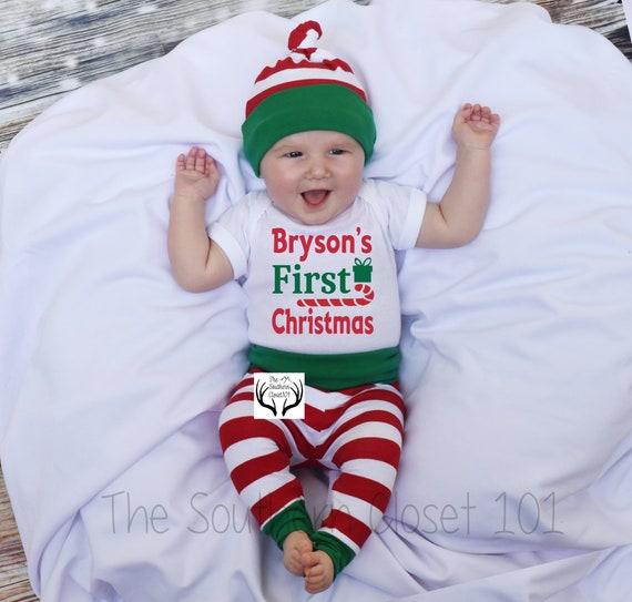 Mon 1st Noël Renne brodé Baby Sleepsuit Cadeau Personnalisé Premier