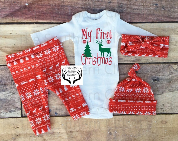 image 0 - Unisex Christmas OutfitMy First ChristmasBaby Girl Coming Etsy
