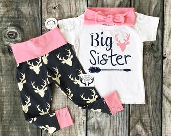 Big Sister Outfit, Sister Outfits,Pink and Navy Blue,Country Outfits, Deer Outfit,Baby Girl,leggings,Shirt,Headband, Big Sister, Arrows
