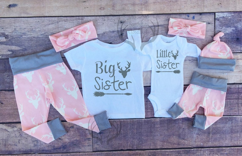 Baby Girl Coming Home Outfit Set,Country Outfits Gils Pink Deer,Sister,Pink,Gray Girls Deer Outfits, Big Sister Little Sister Outfits
