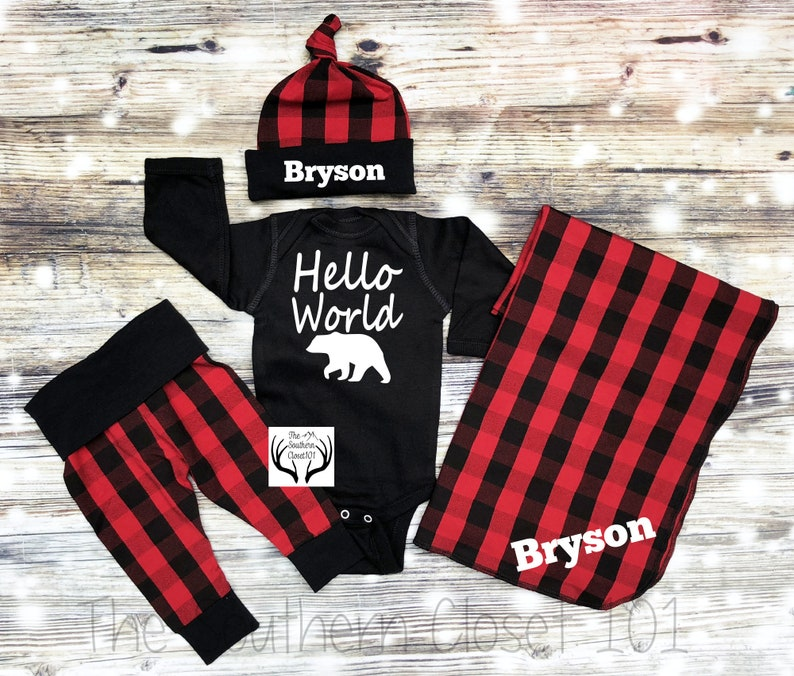 c45e87998 Boys Buffalo Plaid Coming Home OutfitBoys Newborn Boy Coming | Etsy