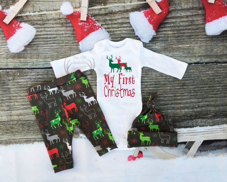 b7af2805a09a Baby First Christmas Outfit boyBoys Christmas OutfitMy 1st | Etsy