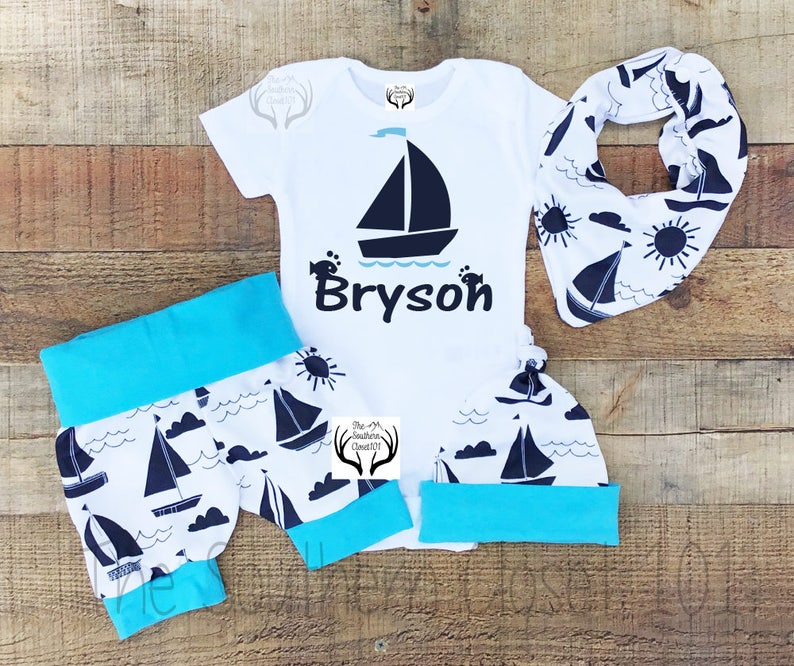 7cfbd64998bd Newborn Baby Boy Coming Home Outfit Baby Blue Herringbone Personalized Tie  Bodysuit Wood Buttons. 1st. image 0