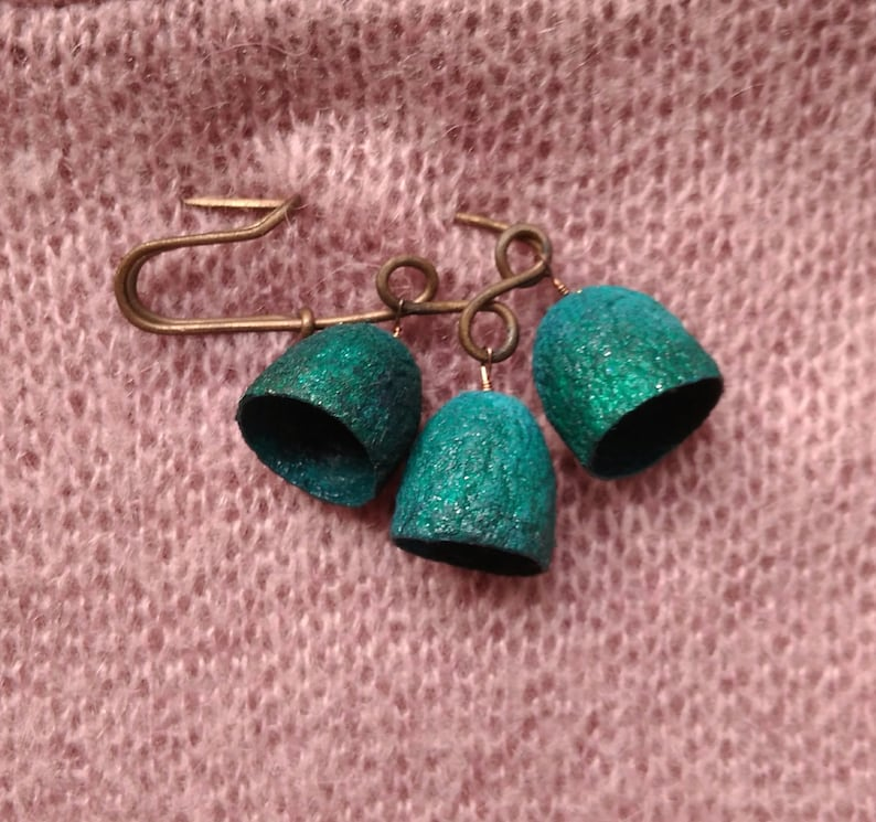 silk cocoons copper brooch pin metal Jewellery shawl sweater floral blue green turquoise Wire Wrapped Gifts for Her Women Accessories boho