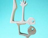 acrobates 2 ; sculpture bois chantourné