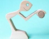 joueur de pétanque ; sculpture bois chantourné