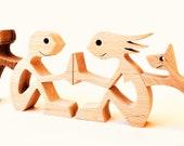 un couple deux chiens ; sculpture bois chantourné