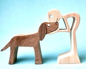 un homme un chien version 3 ; sculpture bois chantourné