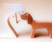 une femme un chien version 4 ; sculpture bois
