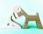 un enfant un chien version 2 sculpture bois chantournée