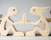 un couple deux chats; sculpture bois chantourné