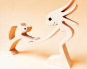 une femme un chat version 2 sculpture bois chantournée
