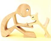un homme un chat version 3 ; sculpture bois
