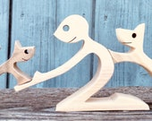 un homme un chien un chat ; sculpture bois chantourné