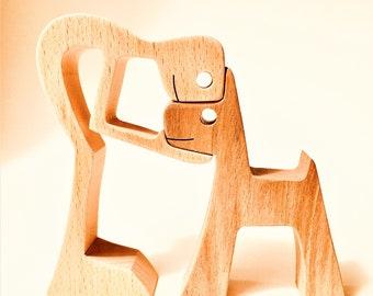 a man a dog the original by 2virgule5d; wood sculpture
