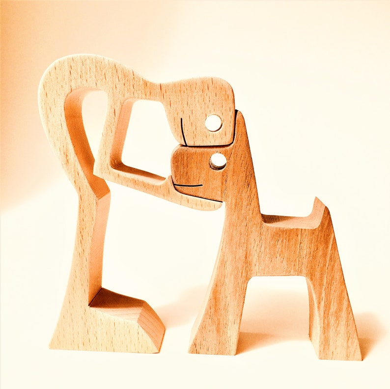 a man a dog the original by 2virgule5d wood sculpture image 0