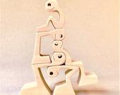 1+1+1+1+1; sculpture bois chantourné