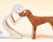 un homme un pointer ; sculpture bois chantourné