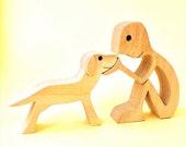 un homme un chien version 4 ; sculpture bois