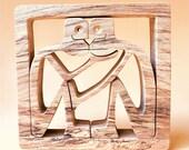face à face 8 ; sculpture bois