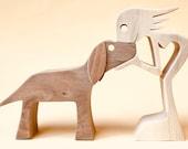 une femme un chien version 4 ; sculpture bois chantourné
