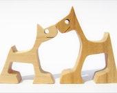 deux chiens version 2 ; sculpture bois chantourné