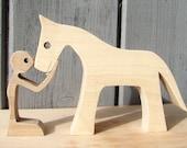 un homme un cheval ; sculpture bois
