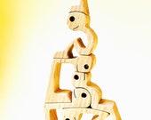 1+1+1+1+1+1 ; sculpture bois